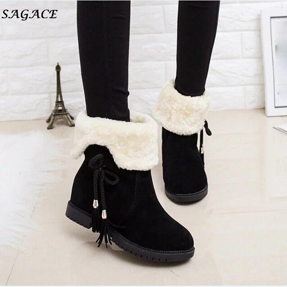Nueva Zapatos Botas Mujeres Chicas Cagace Tobillo Black Nieve Calientes 2018 Invierno Tacones Mujer Llegada Moda De pqv5cwA5