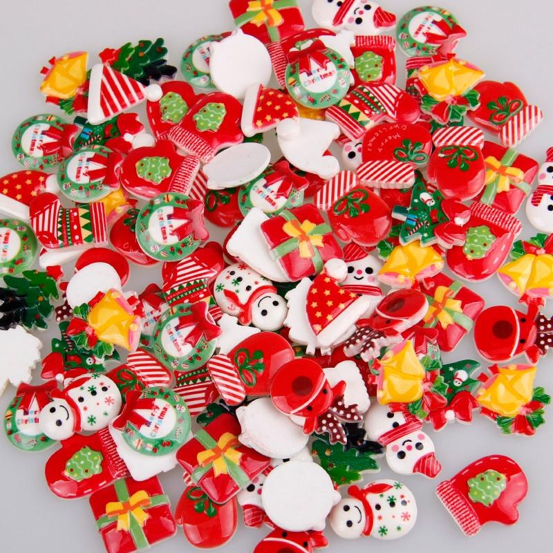Mix Designs 30pcs Christmas Tree Shoes Snowman Gift Dessert Cartoon DIY Resin Flatback Cabochon Lucky Bag DIY Phone Case Beauty