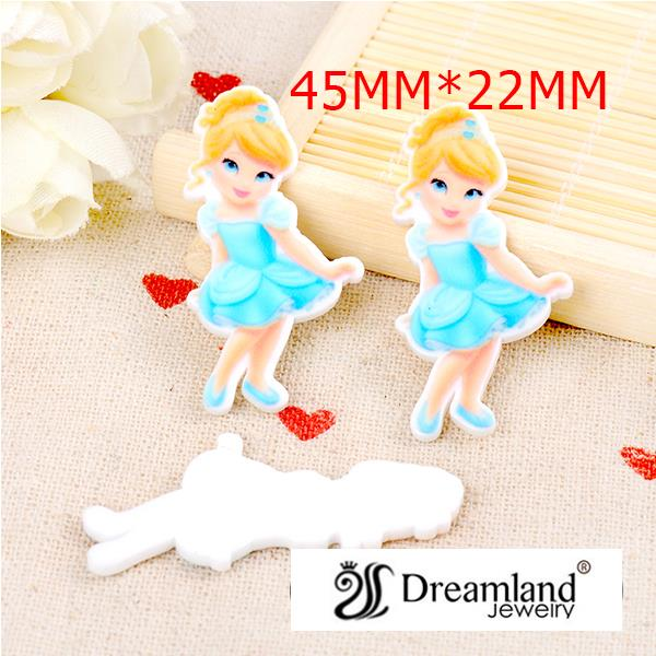 50pcs/lot 45MM X 22MM New cartoon resin flatbacks cute kawaii princess flat back planar resin for DIY holiday decoration DF-201 image