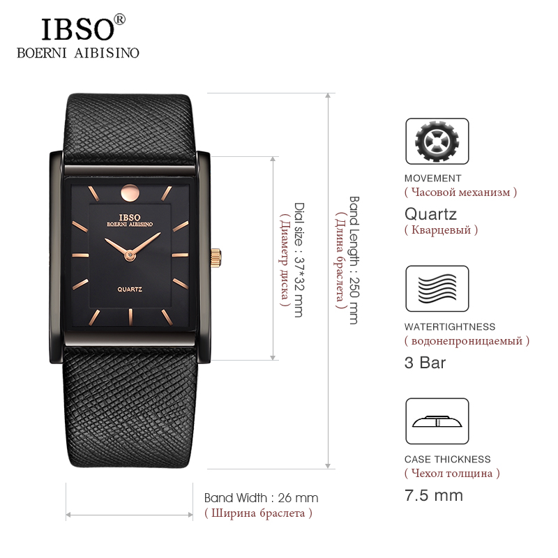 IBSO 7MM Ultra-thin Rectangle Dial Quartz Wristwatch Black Genuine Leather Strap Watch Men Classic Business New Men Watches 2019 Multan