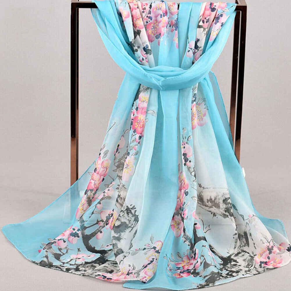 Bufanda de seda para mujer chales y bufandas para mujer con estampado de flores