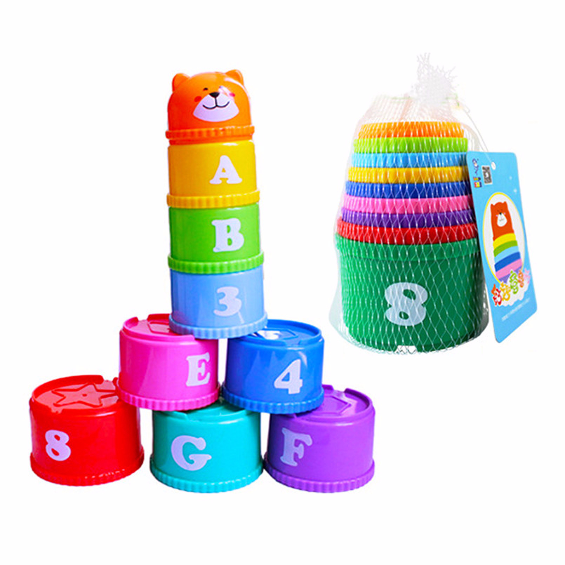 9PCS/set Mini Bear Stack Cup Tower Figures Toys Rainbow Color Number Folding Children Early Intelligence Cup Letter Toy For Kids