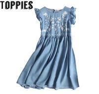 2017 Women Embroidered Denim Dress Vintage Sleeveless Jeans Dress with Ruffles A line vestido jeans