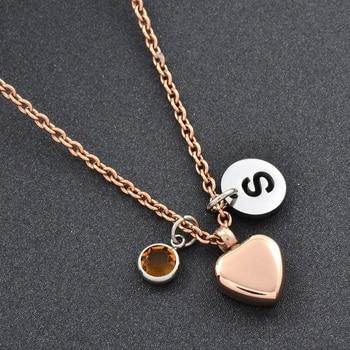 aa1825b34198 Collar de urna de cremación de corazón de oro rosa para mujer joyería  conmemorativa recuerdo de