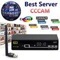 1 Año Cccam Servidor V8 Súper Receptor de Satélite Full HD 1080 P + 1 Soporte Usb Wifi Cccam Europa Cline PowerVu Biss Clave Conjunto de Caja de la Tv