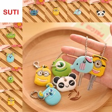 suti 1PCS Anime Silicone Key Cap cute Key Chain Women Bag Charm Key Holder panda Key Ring yellow-man Keychain Key Cover