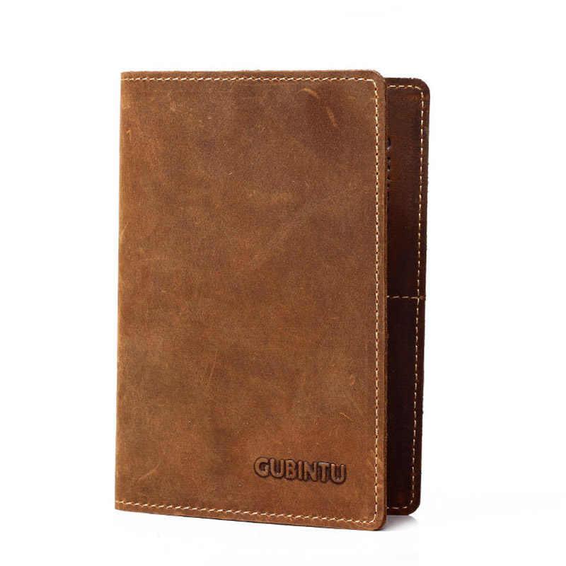 GUBINTU, винтажная Мужская натуральная кожа, Обложка для паспорта, кредитница, кошелек, органайзер для документов, кошелек для мужчин