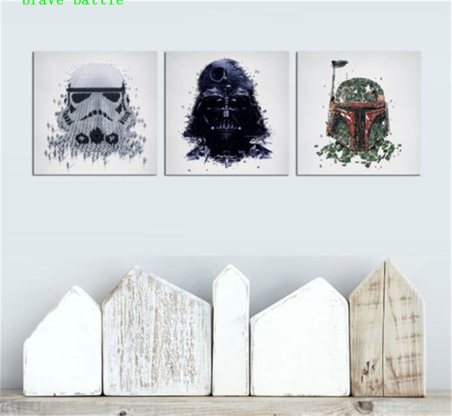 Darth Vader Star Wars 3 Pieces Canvas Painting Print Living Room Home Decor Modern Wall Art Oil Painting Poster in Painting Calligraphy from Home Garden