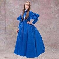 1867 Europ Ball Gown Dress 19th Century Women Wedding Dress Medieval Blue Dress Victorian Renaissance Cosplay Dress