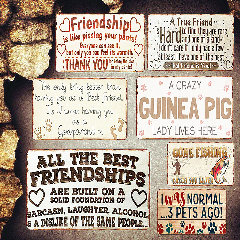US $4.03 51% OFF|Best Friendship Shabby Chic Metal Signs Bedroom Decorative  Plates Letter Board Wall Stickers Art Poster Home Decor Friend\'s Gift-in ...