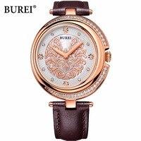 Бренд BUREI, женские кварцевые часы с сапфировыми кристаллами, водонепроницаемые Модные золотые наручные часы, женские часы 2017, Relogio Feminino