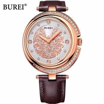 BUREI Brand Ladies Sapphire Crystal Quartz Watch Waterproof Fashion Rose Gold Wrist Watches Clock Women 2017 Relogio Feminino