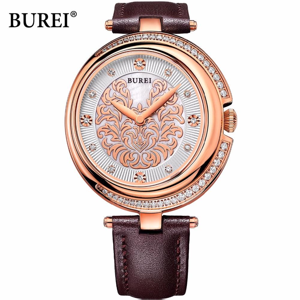 BUREI Marke Damen Sapphire Kristall Quarzuhr Wasserdicht Mode Rose Gold Handgelenk Uhren Uhr Frauen 2017 Relogio Feminino-in Damenuhren aus Uhren bei  Gruppe 1