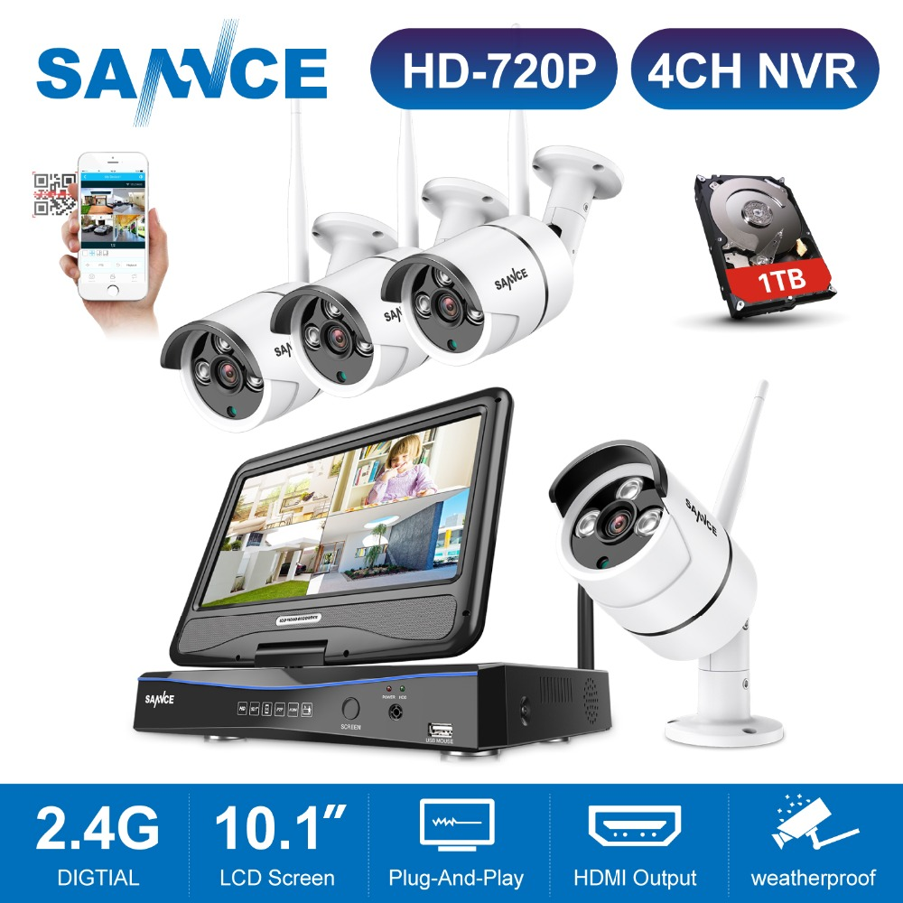 SANNCE 10.1inch LCD 4CH Wireles 720P CCTV Security System 4CH Wifi 1080P HDMI H.264 NVR With 720P Outdoor Weatherproof IP CameraSANNCE 10.1inch LCD 4CH Wireles 720P CCTV Security System 4CH Wifi 1080P HDMI H.264 NVR With 720P Outdoor Weatherproof IP Camera