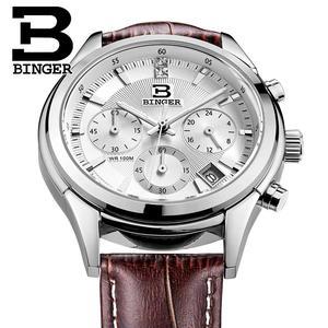 Image 2 - Switzerland BINGER Mens Watch Luxury Brand Quartz waterproof Genuine Leather Strap auto Date Chronograph Male Clock BG6019 M