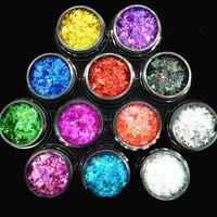 12 가지 색상 홀로그램 레이저 반짝이 육각형 paillette 스팽글 모양 네일 아트 데코레이션 & 글리터 크래프트 스팽글 메이크업