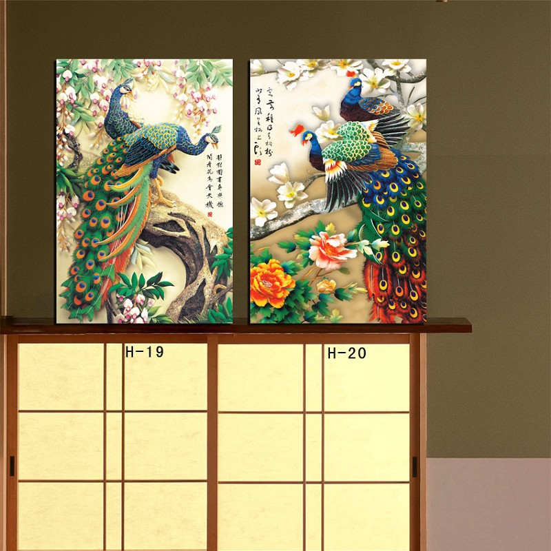 2 piece wall canvas art Peacock painting Modern office wall painting ...