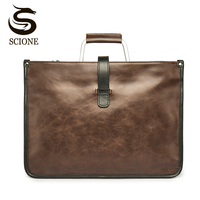 England Style Men Briefcase Bag Vintage Metal Handle Shoulder Bags For Man Business Handbag High Quality