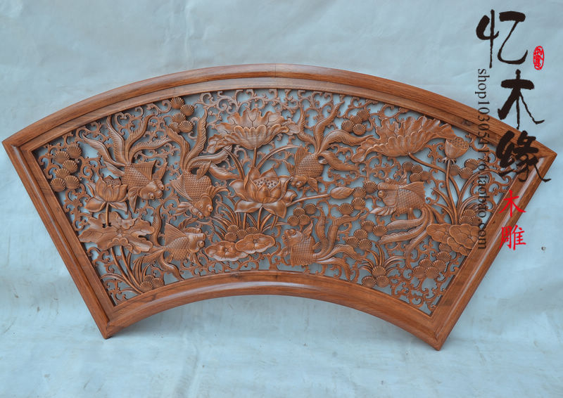 Dongyang woodcarving hanging wall mural pendant fan feast Chinese antique carved camphor wood lattice