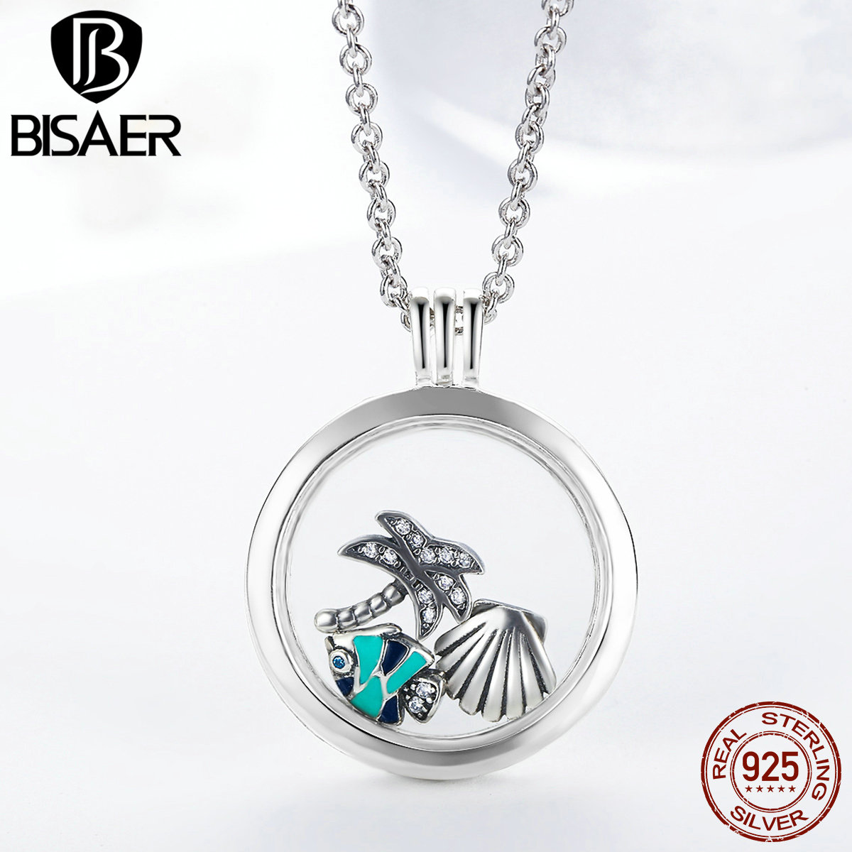 цена 925 Sterling Silver Tropical Paradise Petites, Fish Sea Shell & Coconut Tree Mix Enamel Locket Pendants Necklace Petite Memories