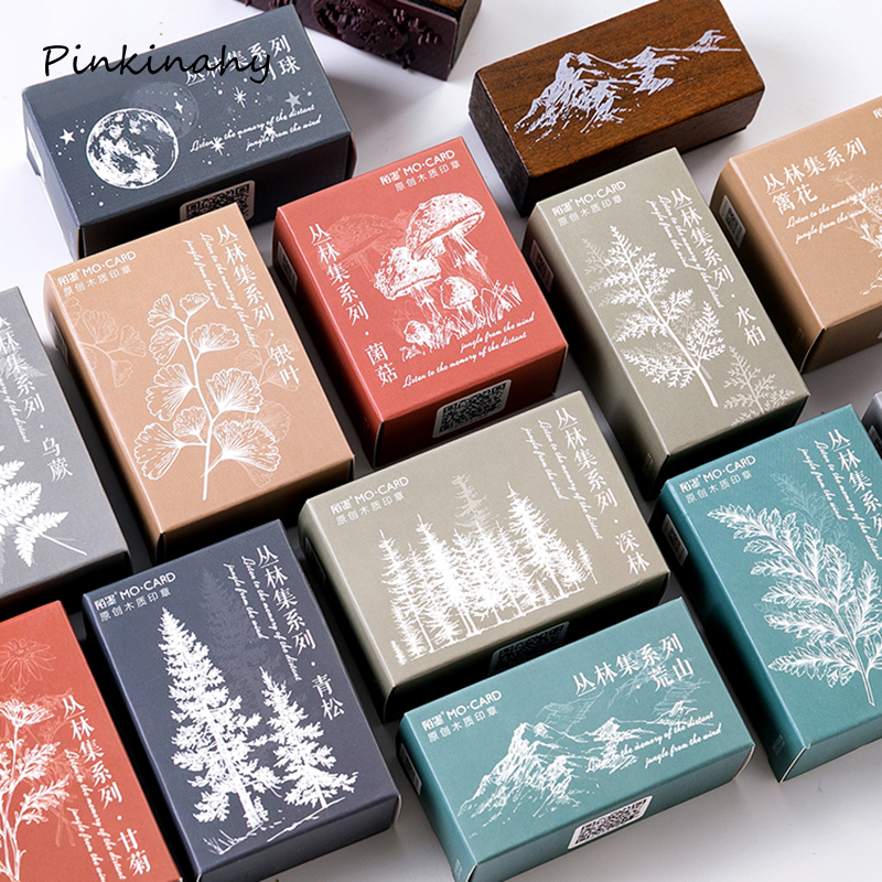 Stamp Wooden Stationery Craft Moon-Decoration Mountain-Forest-Plants Vintage Scrapbooking