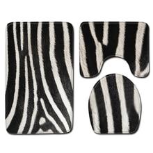 Nordic Zebra Pattern Bathroom Shower Bath Mat Toilet Lid Cover Carpet Rugs Home Decoration Animal Set