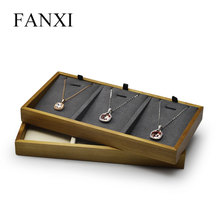 FANXI New Solid Wood Jewelry Display Tray Cream-white & Dark Grey  Necklace Bracelet Ring Dispaly Stand for Shop Counter