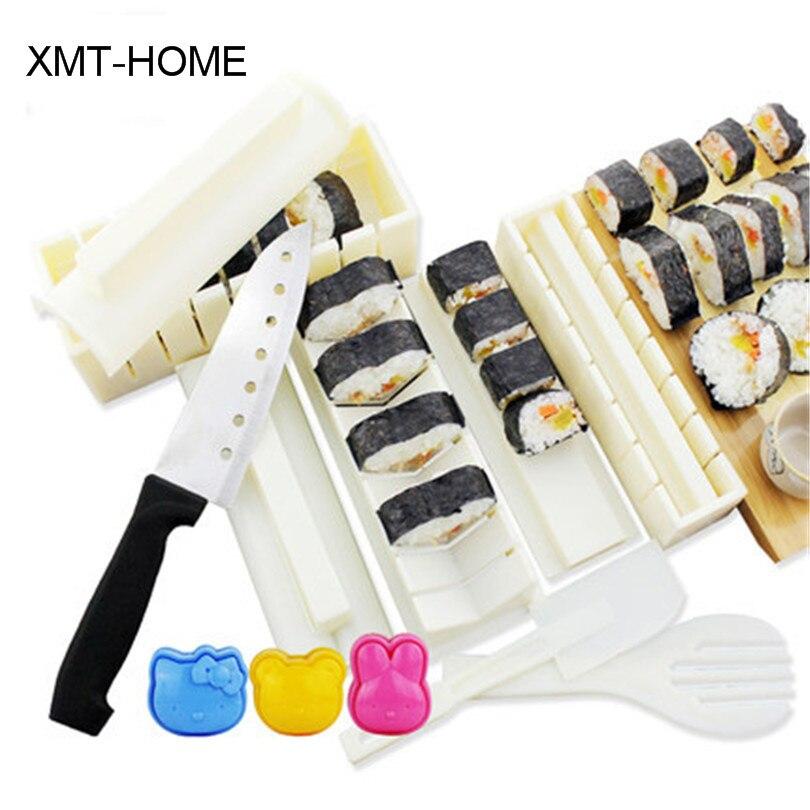 XMT-HOME 1 ensemble kit de moule de fabricant de sushi et couteau d'algues nori ensemble de rouleau de sushi tapis roulant rouleau de riz faisant des outils de cuisine de moule