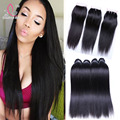 7A indian straight hair with closure raw indian virgin hair weave 3 bundles with closure human hair bundles with lace closures