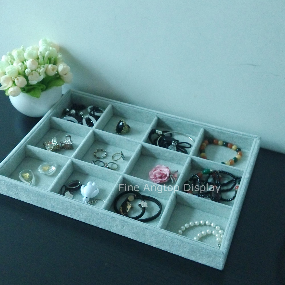 12 Grids Velvet Jewelry Organizer Tray Showcase Display Storage For