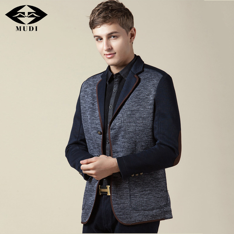 MUDI Brand 2017 Men Blaser Upscale Casual Blazers Male Slim Fit Thin Wedding Suits Overcoat Costume Office Outfit Traje Jackets