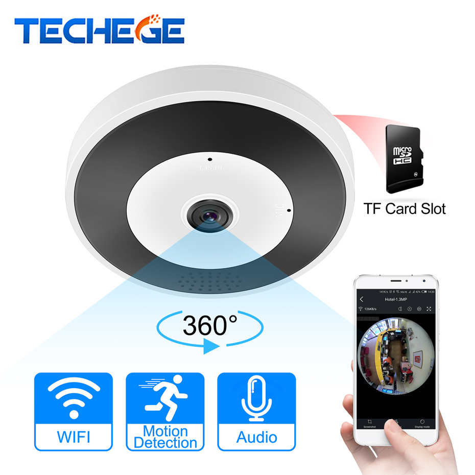 Techege 3D VR WIFI Smart Camera Audio 360 Degree VR Panoramic Camera 1.3MP 2MP 3MP FIsheye Wireless camera TF Card Slot IR 10M
