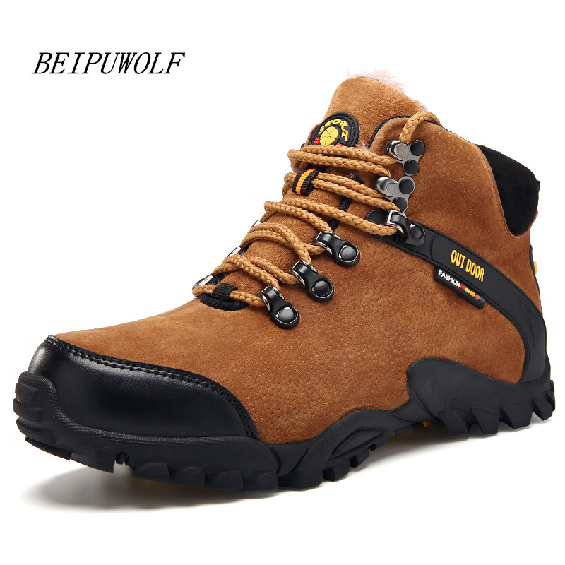 2016 Winter Men's Warm Hiking Shoes Outdoor Pigskin Leather Climbing Boots High Top Mountain Trekking Sneakers for Male new women hiking shoes outdoor sports shoes winter warm sneakers women mountain high tops ankle plush zapatillas camping shoes