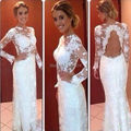 2015 New Custom Made Long Sleeve High Neck Backless  Lace Prom dresses White Formal Party Dresses For Wedding