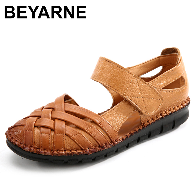 BEYARNE2019Summer Shoes Woman Genuine Leather Flat Sandals Soft bottom Comfortable Women Shoes Hand sewing Gladiator SandalsE206BEYARNE2019Summer Shoes Woman Genuine Leather Flat Sandals Soft bottom Comfortable Women Shoes Hand sewing Gladiator SandalsE206