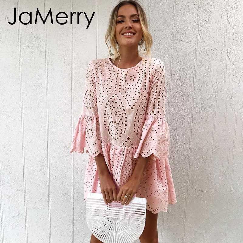 JaMerry Винтаж boho выдалбливают женское платье элегантные расширяющиеся к низу рукава хлопок женское вечернее платье богемные белые летние платья 2019