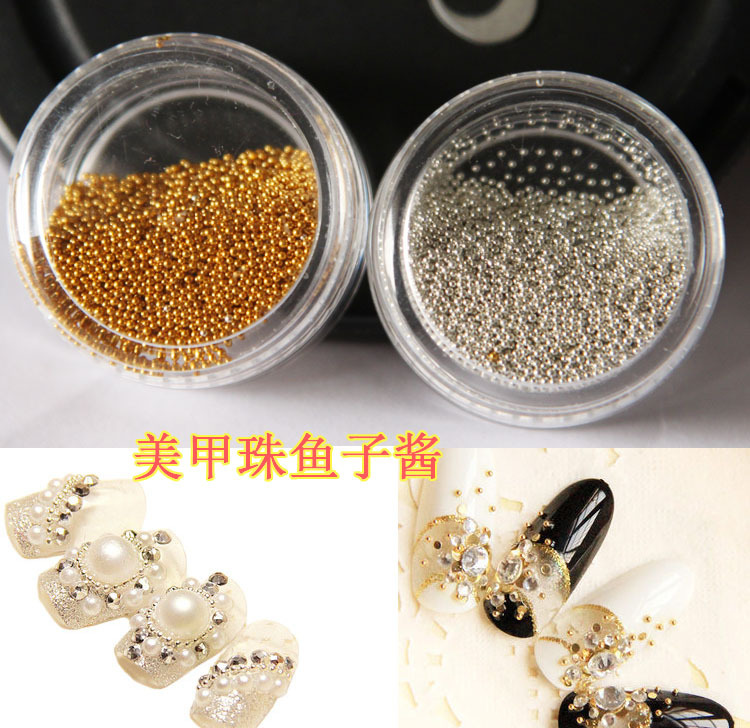 wheel Tiny Circle Bead Decoration Silver Gold 3D Nail Art Caviar