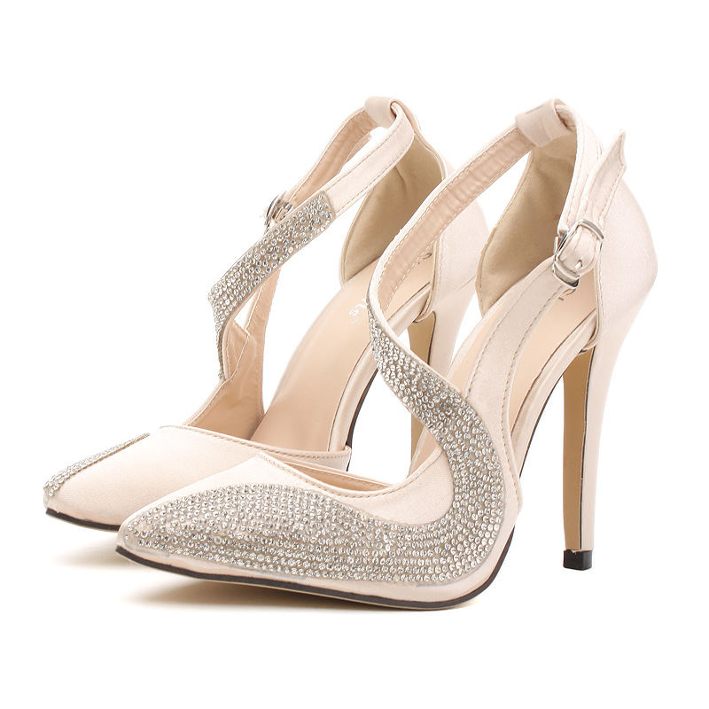 2019 Europe and the United States foreign trade nightclubs super high-heeled catwalk star fashion rhinestones high heels single