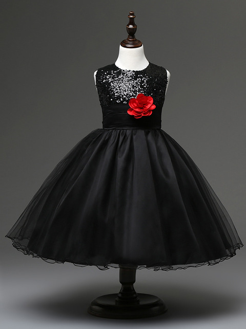 high quality sequined flower girl frock short kids black party ...