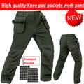 New mechanic work pants men with knee pads green work wear cargo pant  with knee pad workwear padded knee trousers free shipping
