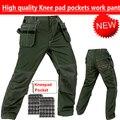 Novas calças dos homens de trabalho mecânico com almofadas de joelho desgaste do trabalho verde calça de carga com joelheira workwear acolchoado na altura do joelho calças frete grátis