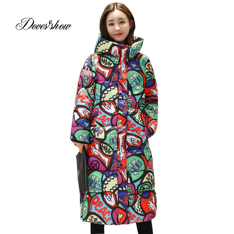Mit kapuze Bunte Winter Unten Mantel Jacke Lange Warme Frauen Casaco Feminino Abrigos Mujer Invierno 2018 Parkas Outwear Mäntel Ru50