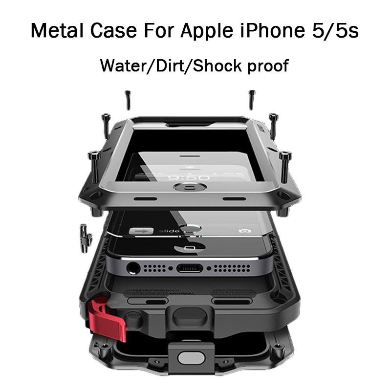 For Apple iPhone 5S Aluminum Metal Heavy Duty Waterproof Drop Resistance Full Protection Metal Shell Cover