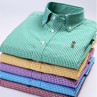 2017 Dudalina Sergio k 100% Cotton Men's Shirts Brand Clothes Slim Fit Striped plaid long sleeved Business Casual Bordado Shirt