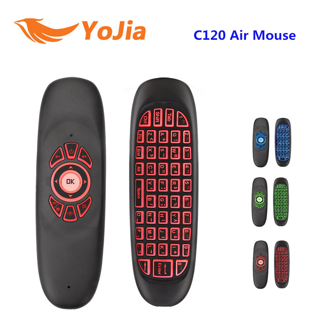 Yojia 2.4GHz Wireless Keyboard English Version Backlight C120 Air Mouse Russian C120 Remote Control Gyroscope For Android TV Box