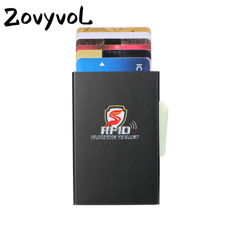 ZOVYVOL 2019 NEW Aluminum Card Holder Back Pocket Smart Wallet RFID Blocking Slim Metal Automatic Credit Coin Purse