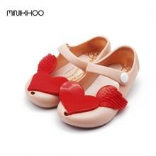 2016 Newest Mini Melissa Girls Sandals  Flash Diamond Love Wings Jelly Soft-Soled Sandals Children Girl Leather Melissa Sandals