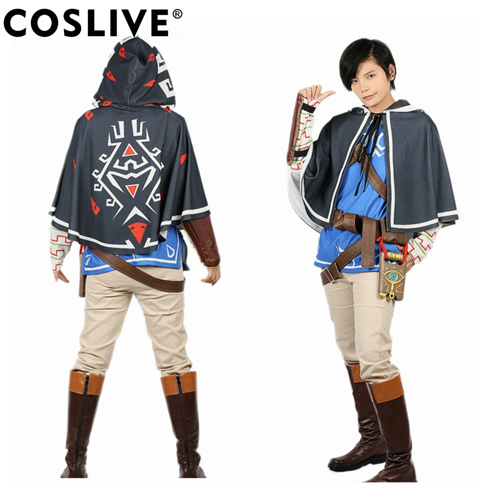 Coslive The Legend of Zelda Breath of the Wild Link Cosplay Halloween Costume Cosplay with Props Adult Fancy Dress Full sets