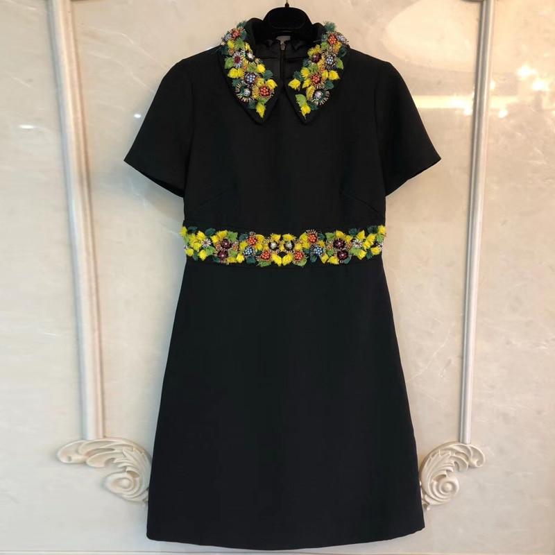 Черный Мини платья Для женщин осень Line короткий рукав платье Для женщин 2018 Мода Бисер платье