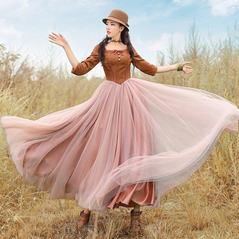 Ropa mujer printemps automne femmes Vintage Royal vent carré col élégant maille daim Patchwork longue robe vestidos verano 2019